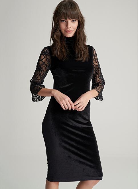 Agenda Kolu Dantelli Elbise Siyah